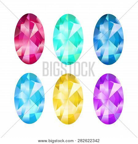 Collection Jewelry. Gem Vector Emerald, Sardius, Sapphire, Topaz. Game Icon On A White Background.