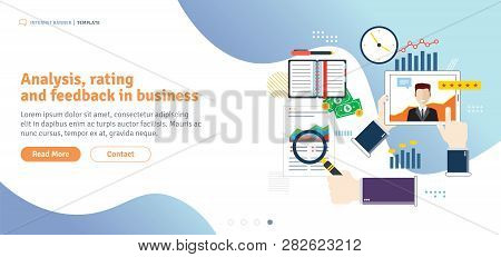 Analysis, Rating And Feedback In Business. Customer Testimonials, Feedback, Rating And Liked. Templa