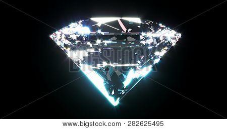 Beautiful Shiny Diamond, Brilliant On Black Background. Clear Or Transparent Diamonds, Close-up Shot