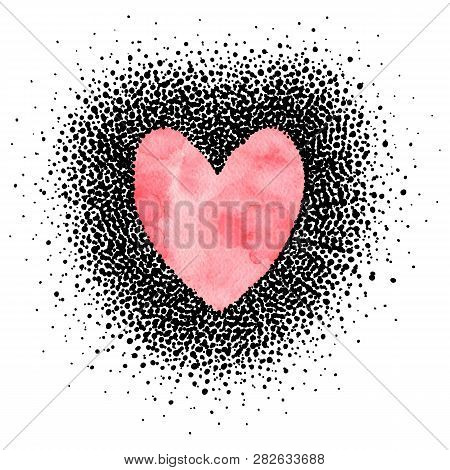 Greeting Card For Valentine's Day. Watercolor Heart, Frame In Polka Dot Style. Handwork. Vector Illu