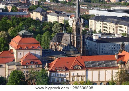 Chemnitz, Germany (state Of Saxony). City Aerial View In Warm Sunset Light.