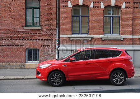 Leipzig, Germany - May 9, 2018: Red Ford Kuga Suv Car Parked In Germany. There Were 45.8 Million Car