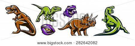 Dinosaur Set. Predators Of The Jurassic Period. Dinosaurs, Beasts, Extinct Animals. Colorful Collect