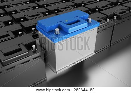 3d Rendering. Car Battery On Grey Background. Acid Battery For Start Auto. 12v Battery