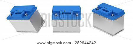 3d Rendering. Car Battery On White Background. Acid Battery For Start Auto. 12v Battery