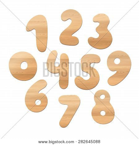 Set Of Realistic Vector Wooden Numbers Isolated On White