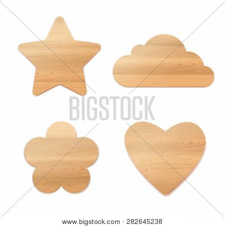 Set Of Wooden Decoration. Plywood Star, Flower, Cloud And Hart Shapes