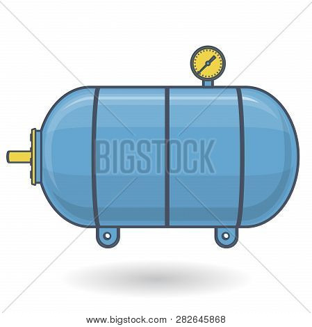 Outlined Pressure Vessel For Water, Gas, Air. Blue Yellow Pressure Tank For Storage Of Material, Wat