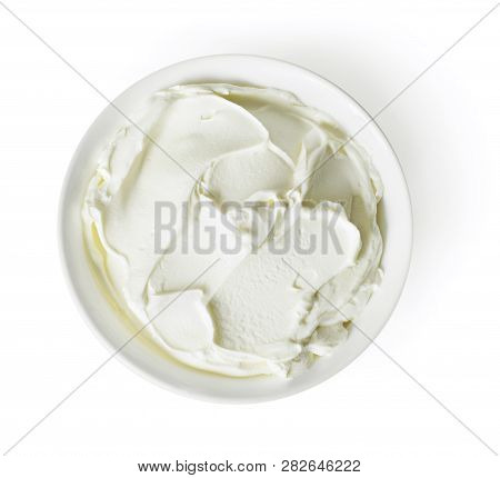 Cream Cheese, Quark Or Yogurt In A White Bowl. Dairy Product, Healthy Eating Theme. Isolated Object