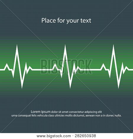 White Heart Pulse In Dark And Green Style. Vector Abstract Illustration Of Heartbeat, Flat Style. Ep