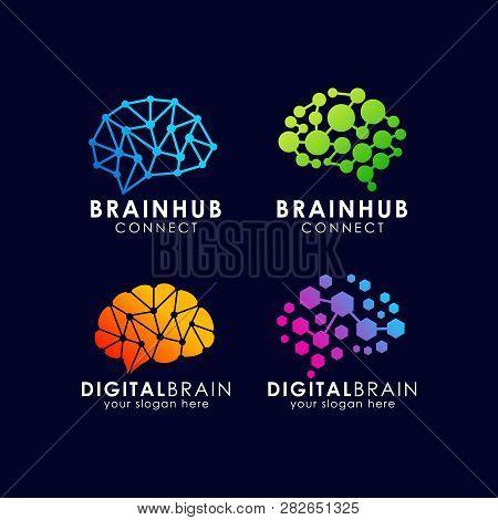 Brain Connection Logo Design. Digital Brain Logo Template