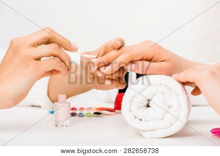 Cropped view of manicurist with beautiful hands applying nail polish poster