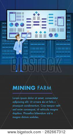 Blockchain Mining Farm. Crypto Coin Complex Machine Analysis. Hardware Monetary Storage. Financial T