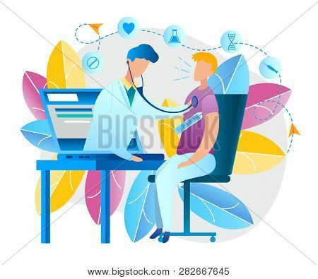 Illustration An Online Doctor Consultation At Home. Vector Image Man Measures Temperature Body Therm