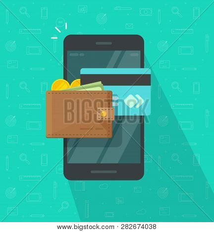 Electronic Wallet On Smartphone Vector Icon, Flat Design Mobile Phone Screen With Digital Money Wall
