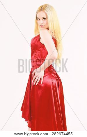 Tailor Service, Fashion Industry. Woman Wears Too Big Red Dress, White Background. Girl Posing In Lu