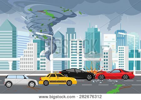 Vector Illustration Of Swirling Tornado And Flood, Thunderstorm In Big Modern City With Skyscrapers.
