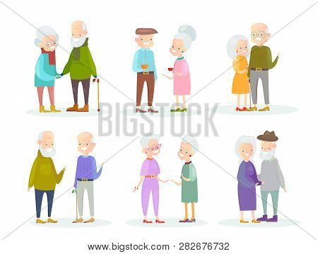 Vector Illustration Set Of Cute And Nice Old People Couples In Different Situations And Poses On Whi