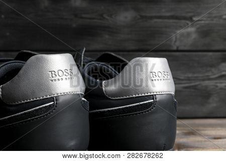 Sankt-petersburg, Russia, February 6, 2018: Boss Hugo Boss Logo On The Modern Leather Sport Shoes. H
