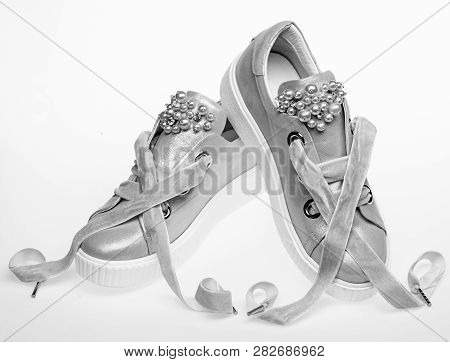 Footwear For Girls And Women Decorated With Pearl Beads. Femininity Concept. Pair Of Pale Pink Femal
