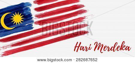 Malaysia Independence Day Background. With Grunge Painted Flag Of Malaysia. Hari Merdeka Holiday. Te