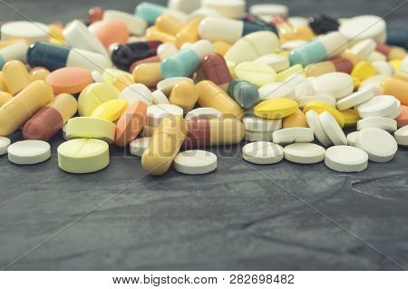 Pharmaceutical Medicine Pills, Tablets And Capsules Different Colors. Medicine Tablets And Pills. He