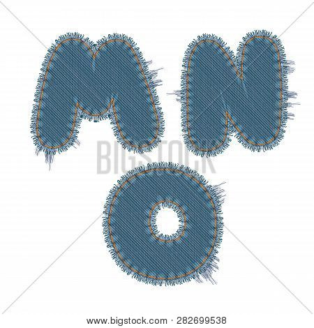 Vector Photo Realistic Illustration Of Torn Denim Patches Isolated On White Background. M, N, O Lett
