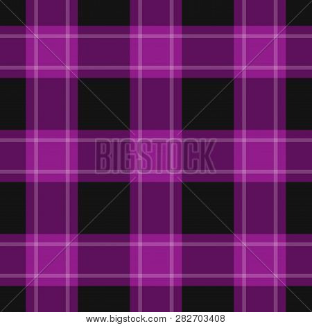Seamless Pattern - Black, Dark And Bright Purple Tartan, Tablecloth With White Stripes