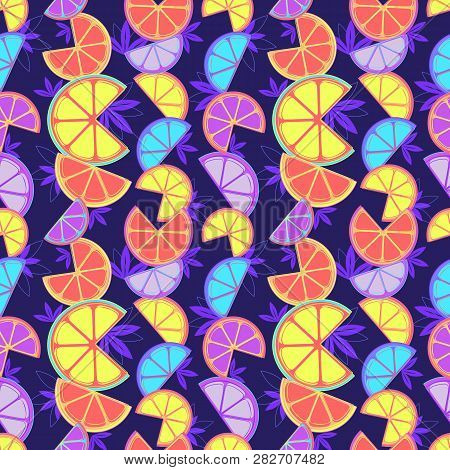 Hand Drawn Sliced Citrus Fruits Seamless Pattern. Futuristic Vibrant Bold Color Tropical Fruit Carto