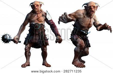 Fantasy Trolls, Ogres Or Giants 3d Illustration