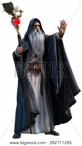 Wizard With Long Beard And Dragon Staff 3d Illustration
