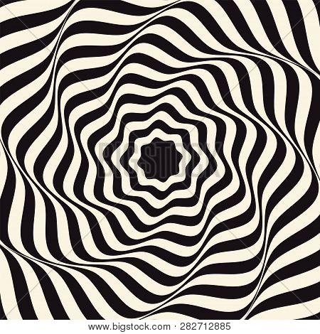 Vector Optical Art Illusion Of Striped Geometric Black And White Abstract Surface Flowing Like A Hyp