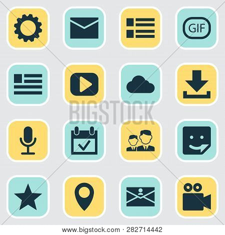Media Icons Set With Letter, Form, Media And Other Play Elements. Isolated Vector Illustration Media