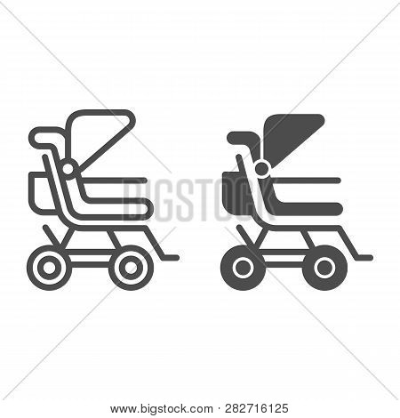 Stroller Line And Glyph Icon. Baby Pushchair Vector Illustration Isolated On White. Buggy Outline St