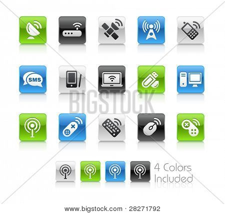 Wireless Communications Buttons  / The file Includes 4 color versions in different layers.