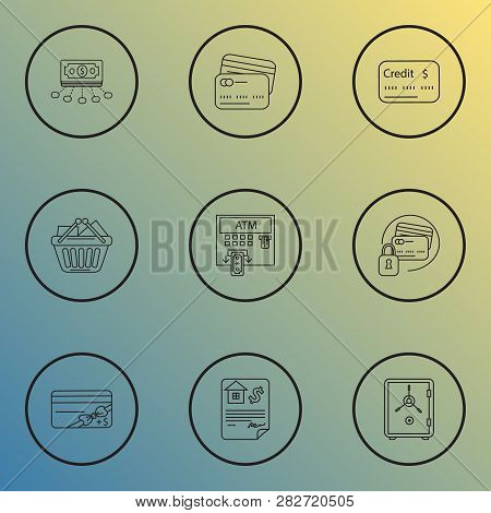 Economy Icons Line Style Set With Safe, Bonus Card, Financial Interest And Other Voucher Elements. I