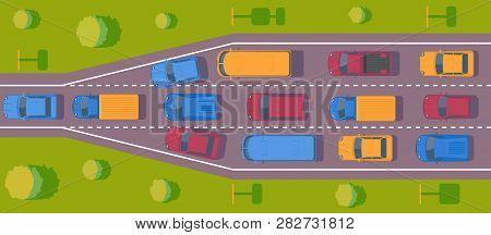 Bottleneck Traffic Jam. Road Dence Traffic On Motorway Or Highway. Different Car On Road. Top View V