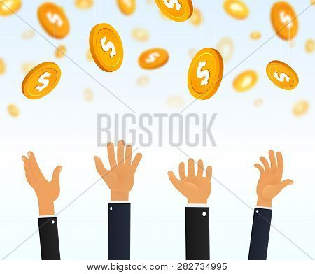 Financial Income Cartoon Vector Illustration. People Catching Falling Gold Coins With Dollar Sign. M