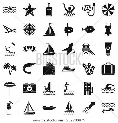 Rest In Beach Icons Set. Simple Style Of 36 Rest In Beach Icons For Web Isolated On White Background