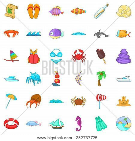 Beach Rest Icons Set. Cartoon Style Of 36 Beach Rest Icons For Web Isolated On White Background