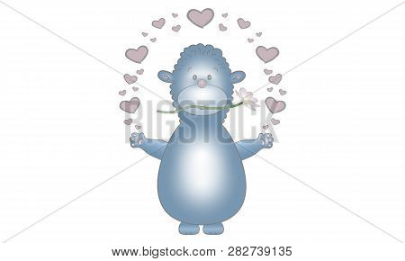 Cute Vector Made Illustration Design Of Blue Fantasy Animal Creature, With Flower And Hearts, Isolat