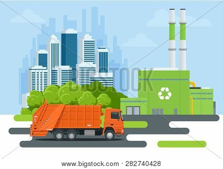 Garbage Truck Or Recycle Truck In City. Garbage Recycling And Utilization Equipment. City Waste Recy