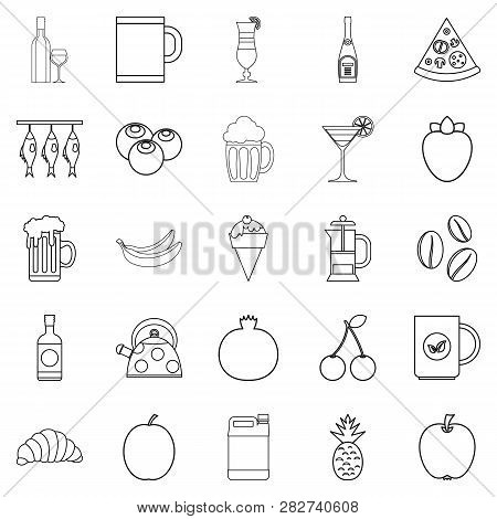 Junket Icons Set. Outline Set Of 25 Junket Icons For Web Isolated On White Background