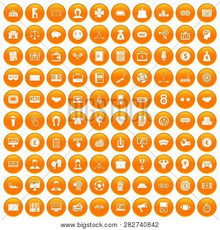 100 Sweepstakes Icons Set In Orange Circle Isolated Illustration