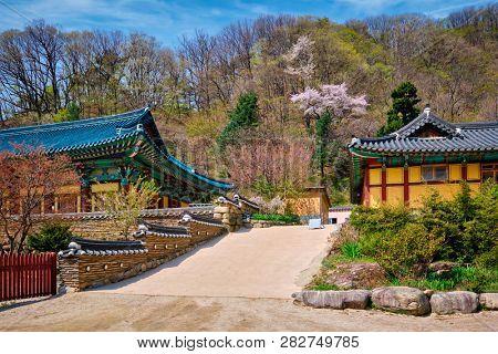 Sinheungsa Buddhist temple in Seoraksan National Park, Seoraksan, South Korea poster