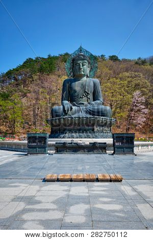 poster of The Great Unification Buddha Tongil Daebul is a 14.6-meter 108 ton Bronze Buddha statue in Seoraksan National Park, South Korea.