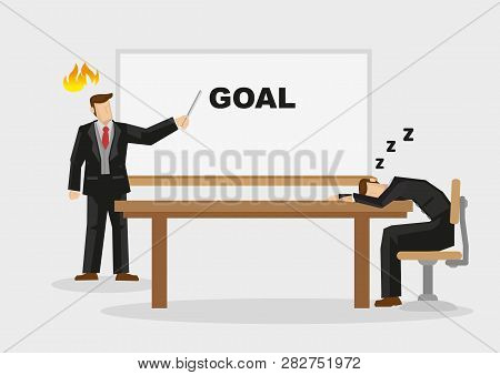 Business Professional Fell Asleep On Table When Manager Makes Business Presentation On Goal. Cartoon