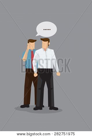 Two Cartoon Men In Work Attire Gossiping In Discreet. Vector Illustration For Concept On Workplace G