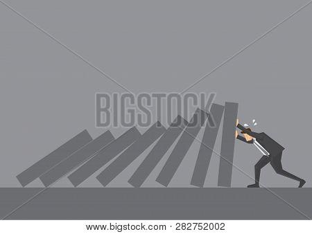 Cartoon Business Executive Pushing Hard Against Falling Deck Of Domino Tiles. Creative Vector Illust