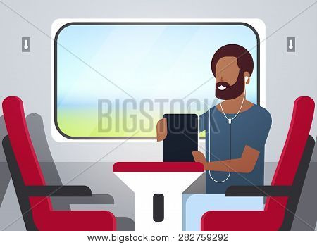 Man Train Passenger Listening Audio Book With Headphones African American Guy Sitting Red Armchair R